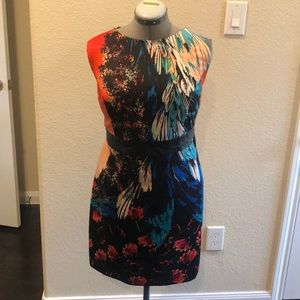 Floral print strapless dress - cut out/pleather.